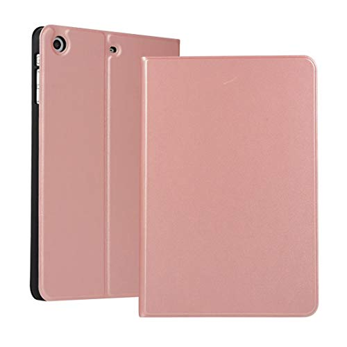 Dmtrab for Left and right solid color elastic leather case for iPad Mini 1 / Mini 2 / Mini 3 with stand with sleep function, TPU soft shell bottom case(Black) (Color : Rose gold)