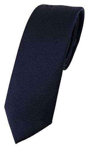 TigerTie schmale Designer Krawatte in schwarzblau einfarbig Uni - Tie Schlips