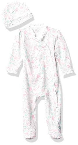 Little Me Watercolor Footie/Hat Pink - Newborn