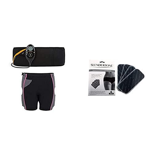 Slendertone Pack Cinturón Abs7 y Pantalones Cortos para Gluteos Electroestimulacion, Unisex-Adult, Negro, 69-119cm, 34-40 + Bottom Electrodos de Repuesto para el Short, Unisex