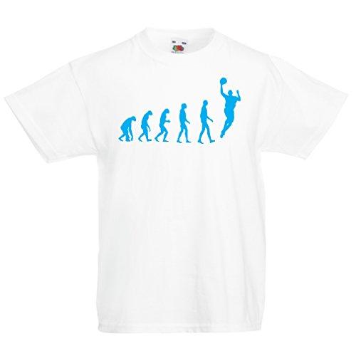 Camisas para niños evolución de Baloncesto - Canasta de la Calle, me Encanta Este Juego, Gran Fan de Regalo (9-11 Years Blanco Azul)
