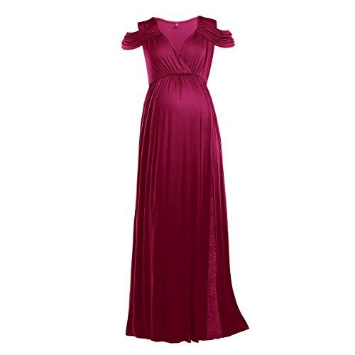 FYMNSI Vestido de maternidad para mujer, con hombros descubiertos, para embarazadas, para fiestas y noche