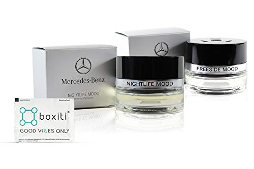 Boxiti Car Air Freshener Freeside Mood and Nightlife Mood Bundle for Mercedes Gift Set - Select Your Favorite Customizable Bundle – Comes Wipe