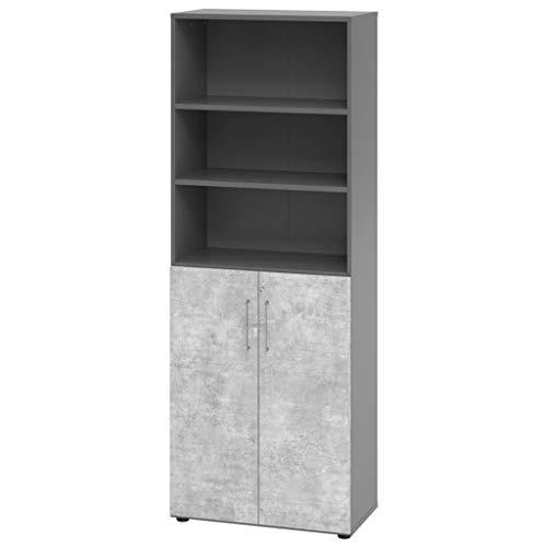 Kantoormeubel Expert Combikast kantoorkast archiefkast 6 ordnerhoogtes serie 9 metalen handvat houten deuren 5 planken Grafiet-beton