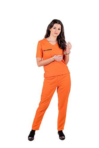 Fun Shack Orangenes Häflting Kostüm für Damen, Sträflingskostüm - S