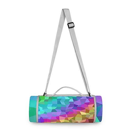 LORONA Manta de picnic multicolor con diseño de arcoíris, manta de picnic para exteriores, redonda, resistente al agua, extragrande, 58.2 x 58.2 pulgadas, alfombra de playa de gran tamaño para viajes o camping