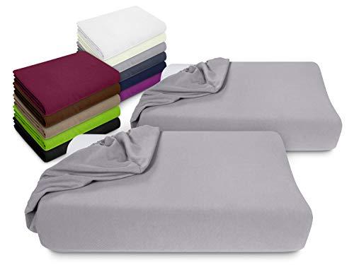 npluseins 2er Pack Spannbezüge Kissenbezüge für Gesundheitskissen 1450.2049, Spannbezug für Gesundheitskissen, grau