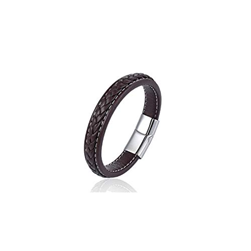 Armband Armreif, Schmuckgeschenk,Fashion Female Jewelry Braided Leather Bracelet Handmade Bracelet Black Stainless Steel Magnetic Clasps Men Wrist Band Gifts Silver Coffee 24.5cm
