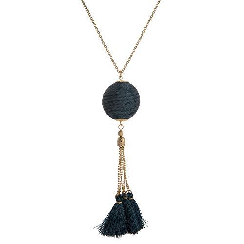 Collar largo de fantasía de metal dorado y textil – Colgante grande de bola recubierta de textil y alargado por pompones con flecos – Azul metálico – 92 cm