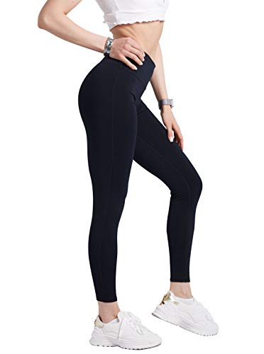 COOLOMG Damen Yoga Lang Hose Kompression Leggings Sport Trainingshose S
