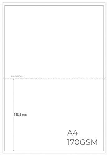 OfficeGear - A5 Carte Perforati, Stampabili, Personalizzabili, Per Volantini, Inviti, Menù, Biglietti, 210mm x 148mm, 2 Carte Per Foglio A4, 170 g/m², 120 fogli, 240 Carte, Modello Gratuito