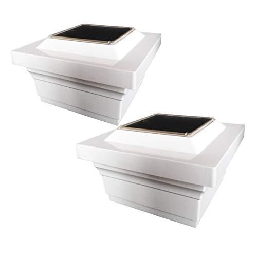 Classy Caps SL075W 5x5 Magestic Solar Post Cap - 2 Pack/White