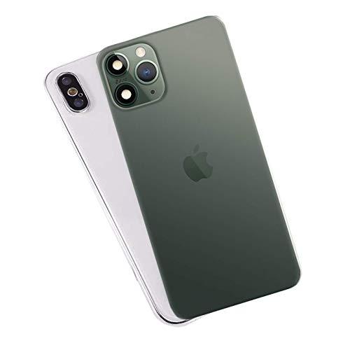 FTYSXP Lente de la cámara modificada Segundos Cambiar la Cubierta para iPhone X XS Cambiar a iPhone 11 Pro Lente Falsa integrada Protección Trasera (Verde Oscuro 5.8 en)