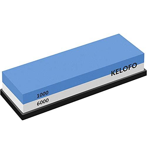 Piedra de Afilar, KELOFO 1000/6000 Grano Afilador De Cuchillos Profesionales Piedra Afiladores Afiladores Manuales con Base de Antideslizante
