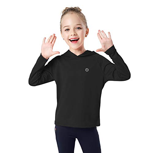 DAYOUNG Boys UPF 50+ Sun Protection Youth Tops Long Sleeve Outdoor Performance Workout Active Hoodie ShirtY43-Black-S