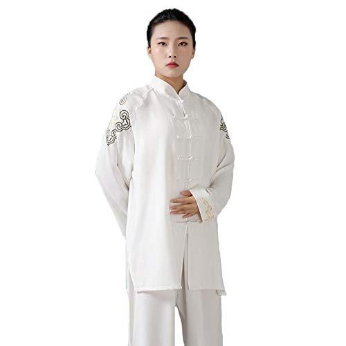 HANHJ Tai Chi Uniforme Traje De Kungfu Artes Marciales Traje De Entrenamiento Unisex Artes Marciales Tradicionales Cómodo Transpirable, Bordado Confort Transpirable,White-XL