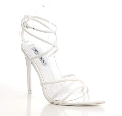 Cape Robbin Ada Sexy Stiletto High Heels for Women, Strappy Pointed Open Toe Shoes Heels - White Size 10
