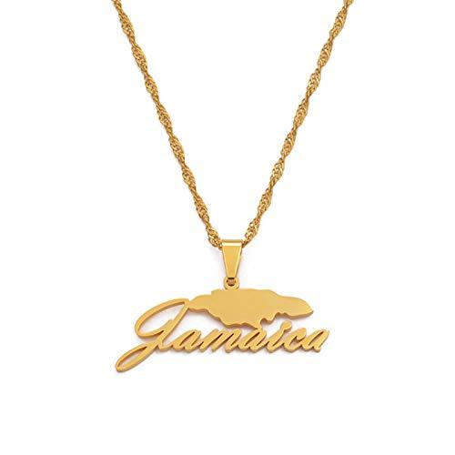 Collares con colgante de mapa de Jamaica para mujeres niñas Color plateado / Color dorado Regalos de joyería jamaicana