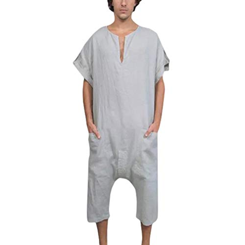 Kunfang Traje de Mameluco para Hombre, Mono de Manga Corta con Cuello en V para Hombre Pantalón Corto de algodón Casual Mamelucos Mono de Fiesta Pantalón Corto para Novio