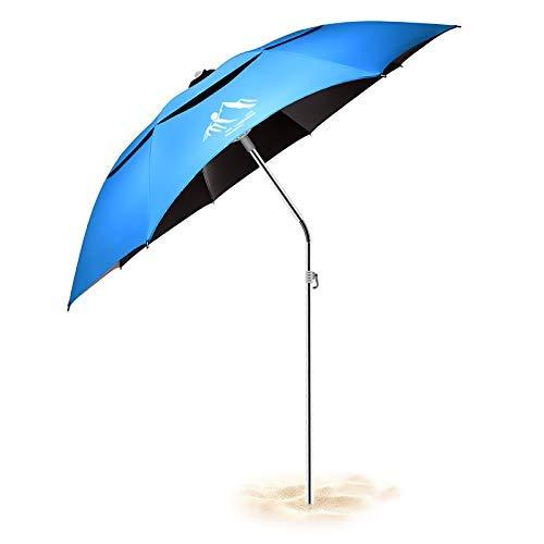 Ombrellone da Sole/Pesca/Spiaggia, Anti-UV, Antivento/Impermeabile/Portatile, Asta Regolabile per...