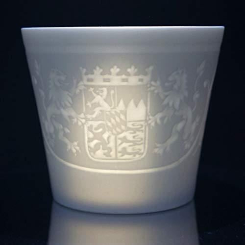 Porzellan Windlicht - Bayern, Lithophanie, Teelicht, Tischlicht, feinstes Bisquitporzellan 9 cm