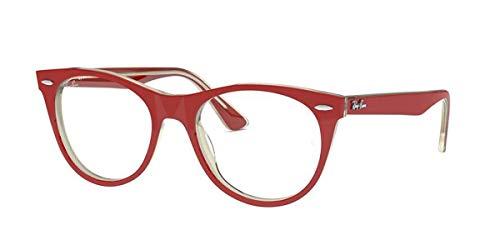 Ray-Ban RX2185V Square Prescription Eyeglass Frames, Red On Top Transparent, 52 mm