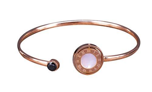 NicoWerk Damen Edelstahl Armreif Kreis Weiß Schwarz Rosegold Römische Zahlen Glatt Offen EAR103