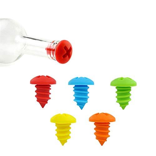 Tapón de botella de vino de silicona rosca, 5 tapas de botella de vino Tapón de silicona reutilizable, para licor, vino, vino tinto, tapón de silicona de conservación fresca