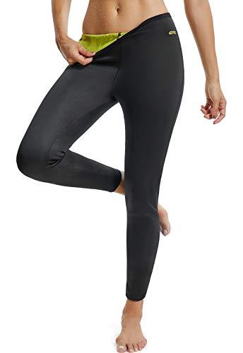 SEASUM Pantaloni Dimagrante Donna Leggins Sauna Neoprene Vita Alta Pantaloncino Termici Sudore Hot Shaper per Allenamento Perdita di Peso Sudorazione Yoga Fitness, A-Nero e Giallo-Lungo M