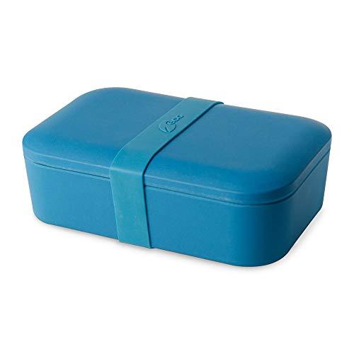 BIOZOYG Lonchera sostenible para Adultos Bento táper de Pan Hecho de bambú I Robusta Caja de Almuerzo Libre de BPA Adecuada para Las lavavajillas I De Color Azul 19x13x6.5cm 900ml