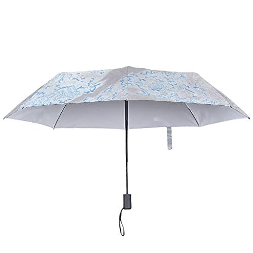 Paraguas plegable con textura de mármol, color frío, a prueba de viento, color blanco y automático