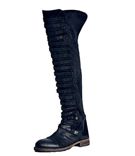 Minetom Damen Langschaft Stiefeletten Schlupfstiefel Mode FarbblockSchuhe Vintage Römisch Knie-Länge Stiefel Elegant Herbst Winter Boots Schwarz 36 EU