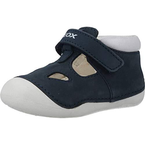 Geox B TUTIM A, Zapatos Primeros Pasos Bebé-Niños, Navy/White C4211, 18 EU