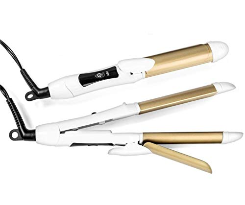 6th Sense 2 in 1 Mini Flat Iron Curling Iron, Travel Hair Straightener, Dual Voltage 374 Degree Temperature Nano Titanium, 1 Inch - Insulated Carry Bag Included (White)