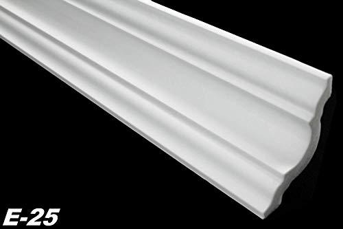 Zierleisten Sparpaket E-25-NK | inkl. vorgefertigte Ecken | leicht und stabil | extrudiertes Styropor | Stuckprofile | modern weiß | dekorativ | XPS | 65 x 65 mm | 20 Meter + 4 Ecken
