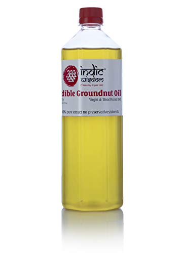 IndicWisdom Cold Pressed Groundnut Oil 1 Liter (Wood Pressed - Extracted on Wooden Churner)