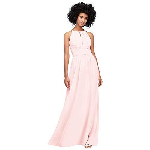 David's Bridal High-Neck Chiffon Bridesmaid Dress with Keyhole Style F19953, Petal, 0