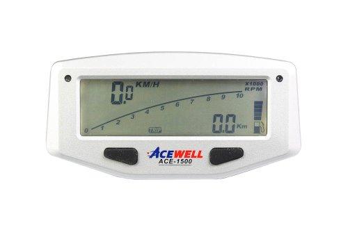 Acewell ACE-1500 Digitaler Motorrad Tachometer mit Balkengrafik Drehzahlmesser, Tankanzeige und LED Schaltwarnung, Display weiss