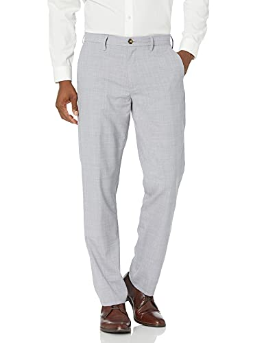 Amazon Brand - Buttoned Down Men's Tailored Fit Stretch Wool Dress Pant, Light Grey, 28W x 28L