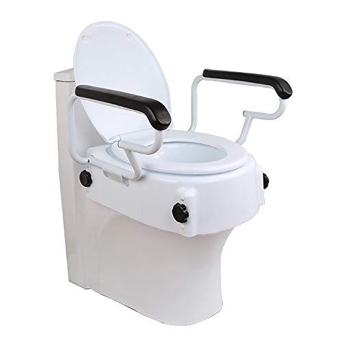 jjff Alzador de Inodoro Portátil, Elevador WC Inclinable con Reposabrazos Abatibles Altura...