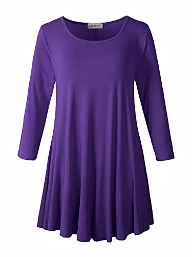 LARACE Women 3/4 Sleeve Tunic Top Loose Fit Flare T-Shirt(S, Deep Purple)