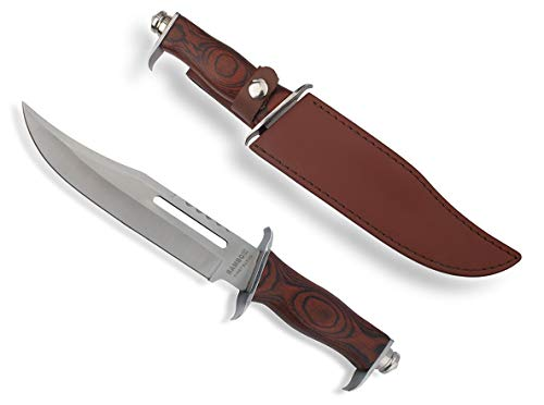 VIKING GEAR® Rambo III Jagdmesser - Outdoor - Survival Knife - Bowie Messer mit Lederscheide - Jagd - First Blood 3 - Original Full-Tang - Kampfmesser, Silber braun