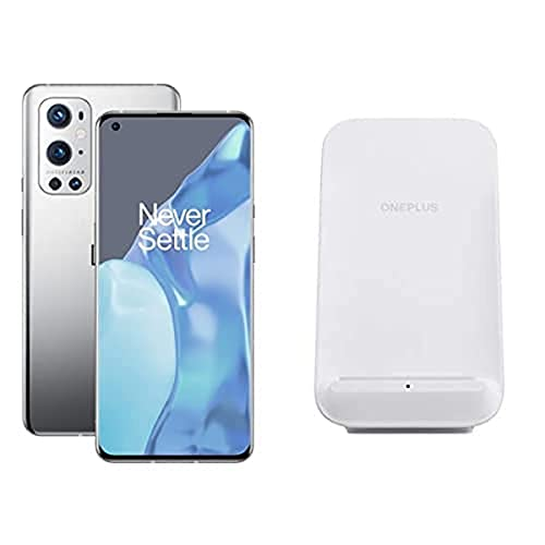 OnePlus 9 Pro 5G Smartphone con Fotocamera Hasselblad, 12 GB RAM + 256 GB, Grigio (Morning Mist) + 50W Caricatore Wireless, Bianco