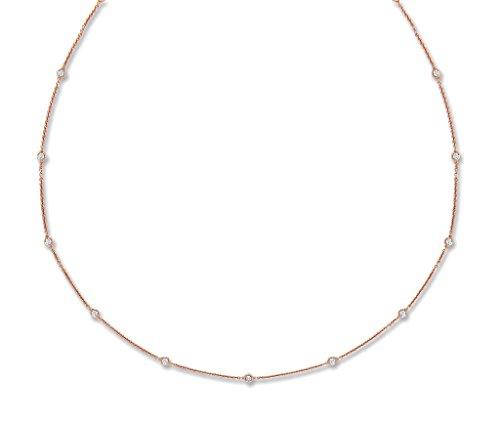 Genuine 0.50ct in Oro rosa 18ct 9diamante catena (18IN/45cm) 45,7cm