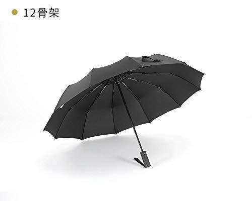 Zwarte plastic zon paraplu 12 bot grote vouwparaplu paraplu versterking anti-Storm paraplu drie vouwen rechte handvat mannelijke paraplu