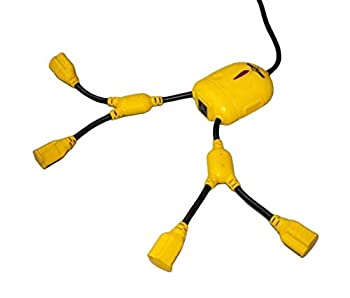 Yellow Jacket 3 ft 5-Outlet Power Squid Power Splitter Extension Cord Splits 1 to 5 outlets with Surge Protector