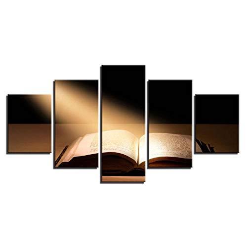 Il Sole Splende Sui Libri Sul Desktop 5 Pezzi Stampe Allungate E Incorniciate Dipinti Su Arte Murale L'Immagine Per La Decorazione Domestica Moderna