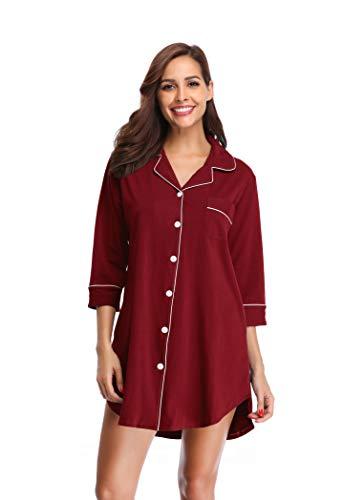 SHEKINI Damen Nachthemd aus Baumwolle Mittellange-Ärmels im Lässigen Boyfriend-Schnitt mit Umlegekragen V Ausschnitt Knopfleiste Pyjamas Tops Elegant Shirt Homewear Schlafanzug(M, Weinrot)