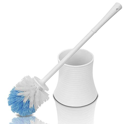 Chimpy Leakproof (no Hole in Holder) Toilet Brush Set with Holder, White Pearl, Plastic Bathroom Bowl Cleaner and Base, Great Grip Strong Bristles - Perfect for a Completely Clean Bathroom