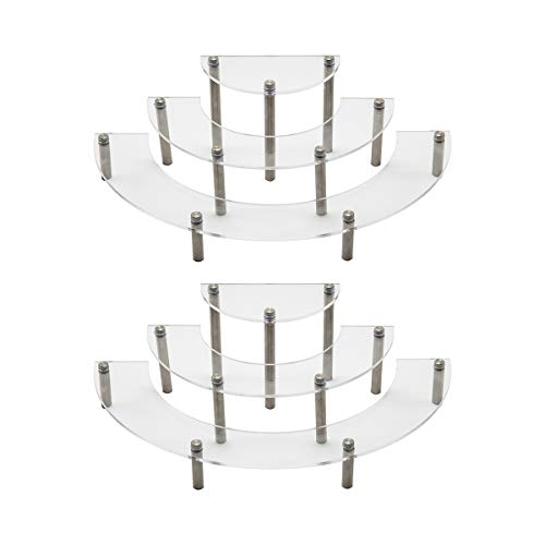BYCY Clear Acrylic Semicircle Round Cupcake Display Stand 3 Tier Display Stand for Jewels, Cupcakes, Figurines and Cosmetic Items(Set of 2)